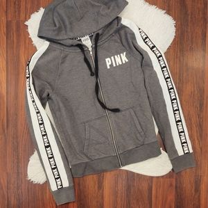 PINK Victoria's Secret Gray White Stripe Hoodie